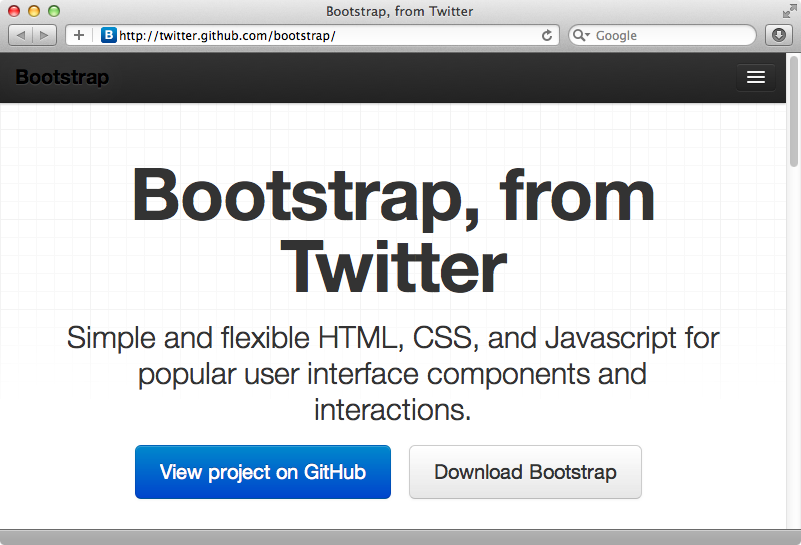 Twitter Bootstrap's homepage.