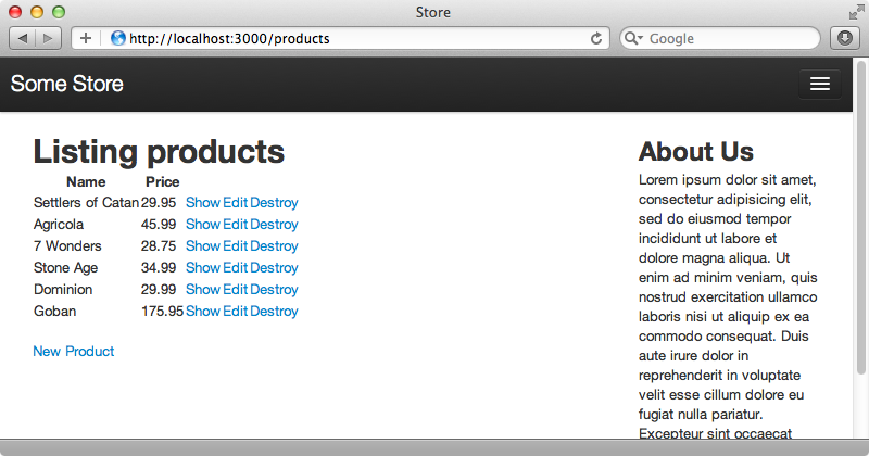 The products index page now shows a list of six products.