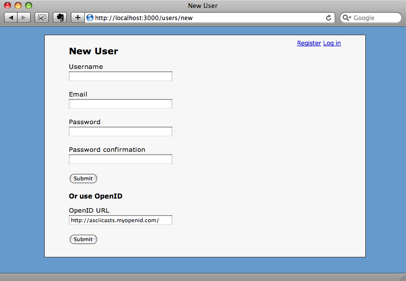 Registering with OpenID.