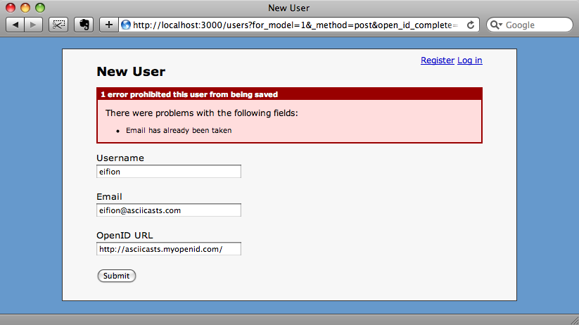 The form now hides the unrequired password fields.