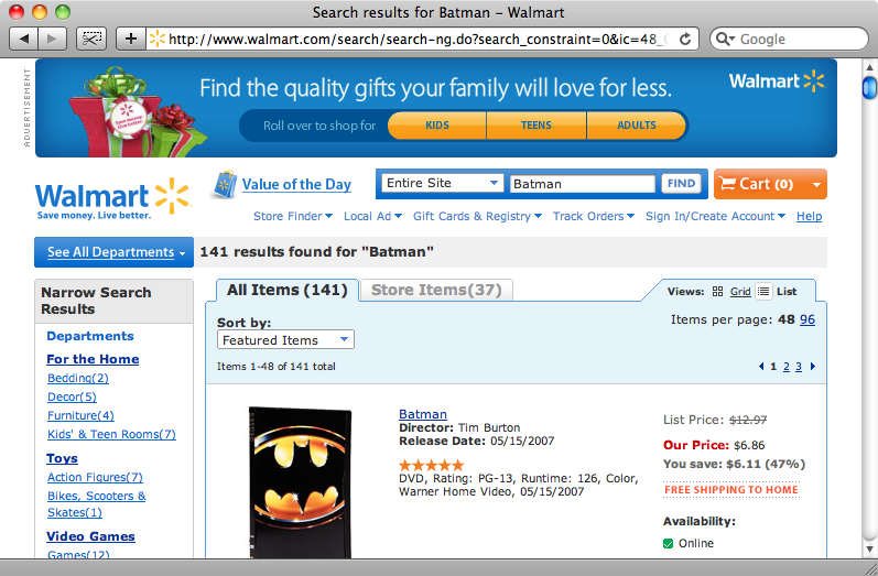 "The search results page for ""Batman""."