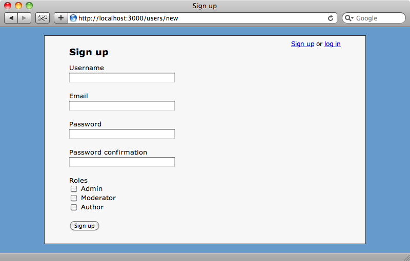 The signup page showing the roles checkboxes.