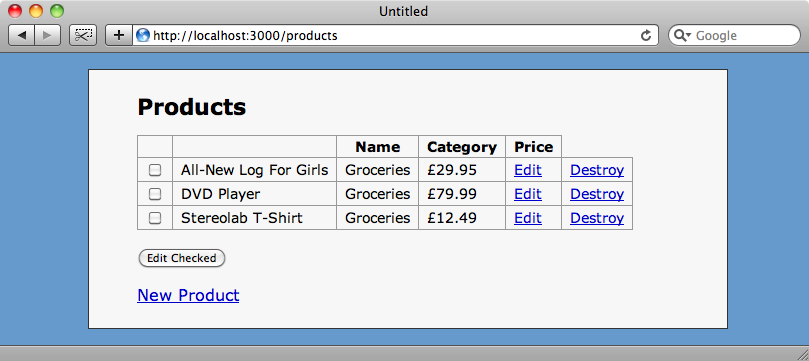 The products index with checkboxes and an edit button added.