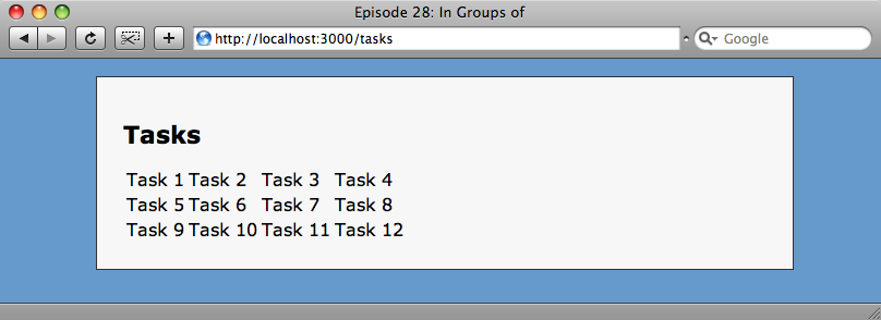 Our tasks are now rendered in four columns.