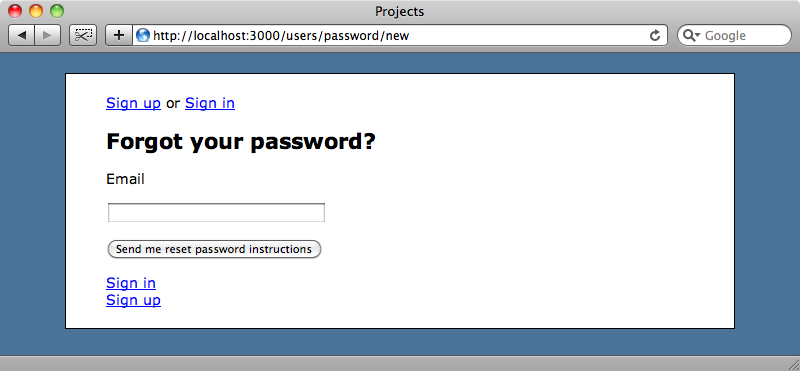 The reset password page.