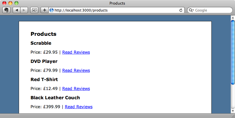 The products list page.