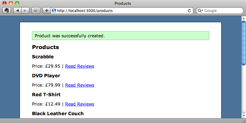 Adding a product now redirects us to the index action.