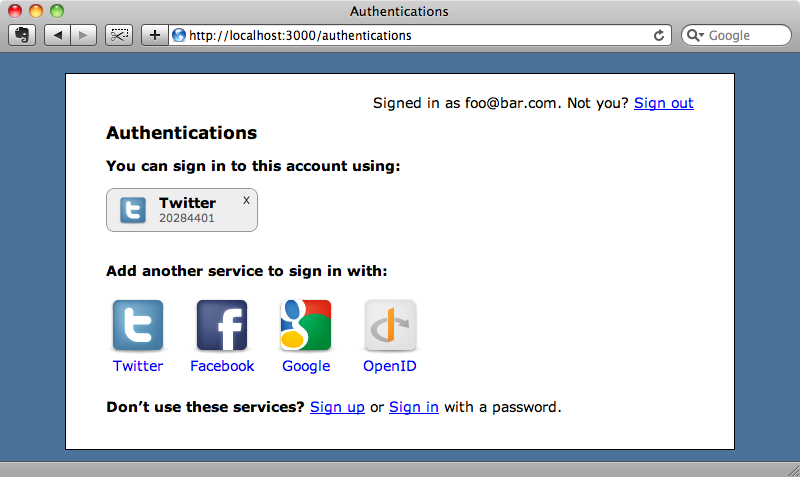 The Twitter authentication is now listed for the new user.
