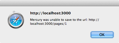 Mercury show an alert if it can't save changes to the server.